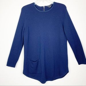 Theory Wool Tunic Scoop Neck Sweater W/Pocket